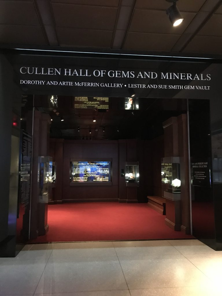 Entrance to the Cullen Hall of Gems and Minerals.