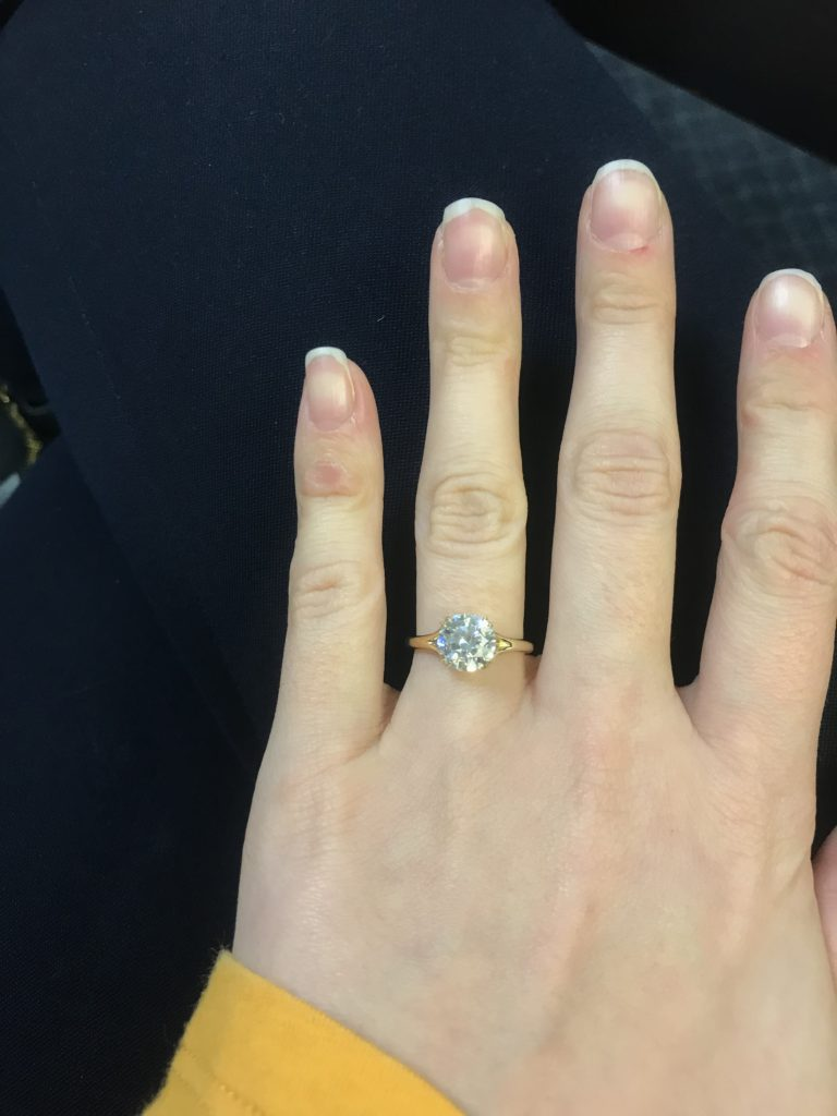 Yellow gold and diamond engagement ring fat fingers