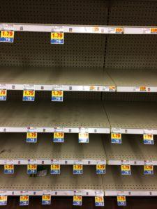 Empty Kroger shelves.