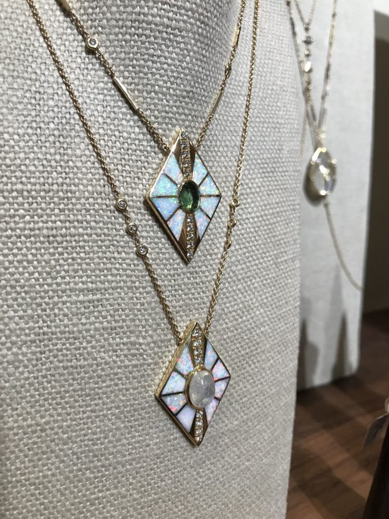 436e054fb6427d Two Jacquie Aiche opal necklaces on display at COUTURE